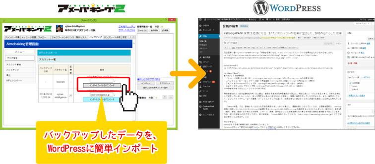 バックアップしたデータを、 WordPressに簡単インポート
